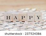 happy word on wood blocks | Shutterstock . vector #237524386