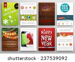 Christmas Posters Set. Christmas Lights, Wood Background. Mobile Phone Icons. Delivery Service Concept. Xmas Icons Set for Christmas Website Decorations. Labels and Tags. Vector Illustration.