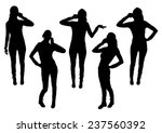 girls silhouettes talking on... | Shutterstock .eps vector #237560392