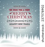 christmas greeting card on blue ... | Shutterstock .eps vector #237578902