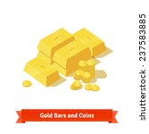 gold bars or ingot and coins.... | Shutterstock .eps vector #237583885