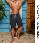 surfer from hawaii posing in...   Shutterstock . vector #237596992