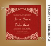 Red Vintage Wedding Invitation...