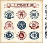 vintage christmas stamps set.... | Shutterstock .eps vector #237606622