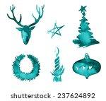christmas watercolor paint... | Shutterstock . vector #237624892