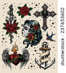 tattoo flash illustration set | Shutterstock .eps vector #237653602