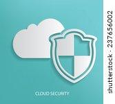 cloud security symbol on blue...