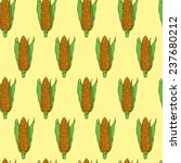 hand drawn corn cob. seamkess... | Shutterstock .eps vector #237680212