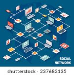 social network concept with...   Shutterstock . vector #237682135