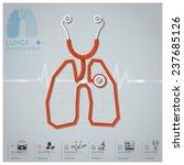 lungs shape stethoscope health... | Shutterstock .eps vector #237685126