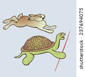 Stock vector competition crafty and smart slow turtle is winner honest and fast hare is loser 237694075