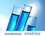 inclined test tubes with blue... | Shutterstock . vector #237697522