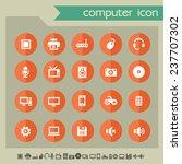 computer icons on bright orange ...