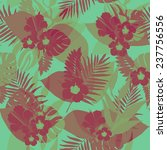 seamless tropical jungle floral ... | Shutterstock .eps vector #237756556
