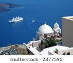 A Ship In Santorini Doing A...