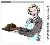 vintage 1950s woman serving... | Shutterstock .eps vector #23776675