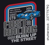 Racing Car Typography  T Shirt...