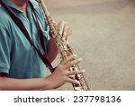 Saxophone Player At Holiday Time