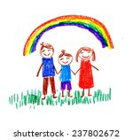 family and rainbow | Shutterstock . vector #237802672