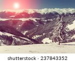 Stock photo mountain winter landscape fantastic morning glowing by sunlight retro filter and instagram 237843352