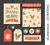 a set of christmas gift tags ... | Shutterstock .eps vector #237844042