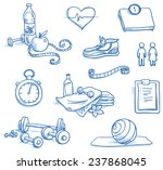 icon set fitness  with weights  ... | Shutterstock .eps vector #237868045