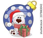 Polar Bear In A Santa Hat With...