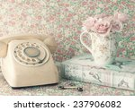 Retro Phone And Roses