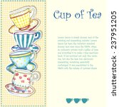 Tea Cups Watercolor On The...