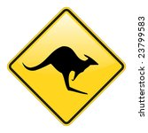 Kangaroo Warning Sign With...