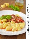potato gnocchi with tomato... | Shutterstock . vector #237996745