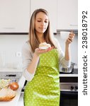 woman in apron with cakes and...   Shutterstock . vector #238018792