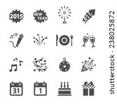 new year party icon set  vector ... | Shutterstock .eps vector #238025872