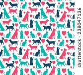 Stock vector vector seamless pattern with cats and dogs 238047136