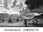The attack on Bunker Hill and the burning of Charles Town, 1775, engraving from Barnard