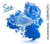 sea fish on a watercolor... | Shutterstock .eps vector #238090192