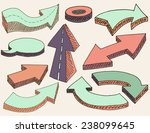 hand drawn simple 3d arrows set ... | Shutterstock .eps vector #238099645