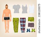 vector dress up male paper doll ... | Shutterstock .eps vector #238120075