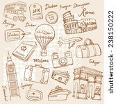 travel theme doodle vector set... | Shutterstock .eps vector #238150222