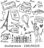 travel theme doodle vector set...