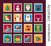 set of christmas stamps.... | Shutterstock .eps vector #238162156