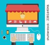 flat design concepts online... | Shutterstock .eps vector #238164046