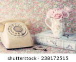 Retro Telephone And Roses