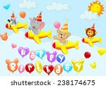 birthday background with animal ... | Shutterstock .eps vector #238174675