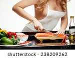 beautiful blonde at the table ... | Shutterstock . vector #238209262
