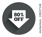 80  sale arrow tag sign icon....