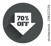 70  sale arrow tag sign icon....