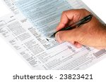 a person signs us tax forums isolated on white - stock photo