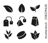 tea leaf and bags icons set on... | Shutterstock .eps vector #238239628