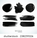 black watercolor banners and... | Shutterstock .eps vector #238259326
